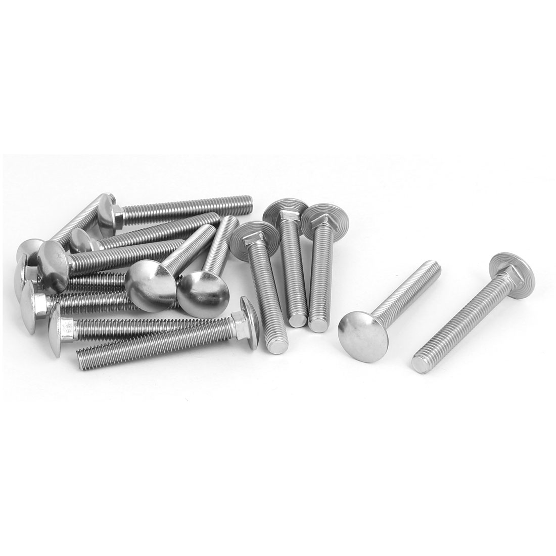M8x60mm 304 Stainless Steel Round Cap Square Neck Trailer Carriage Bolts 15pcs