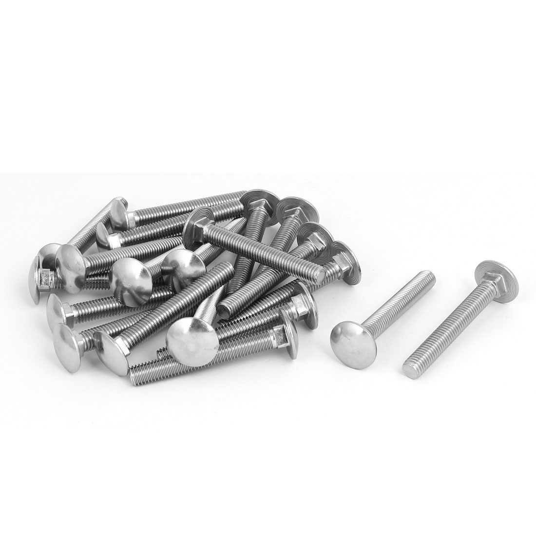M8x60mm 304 Stainless Steel Round Cap Square Neck Trailer Carriage Bolts 20pcs