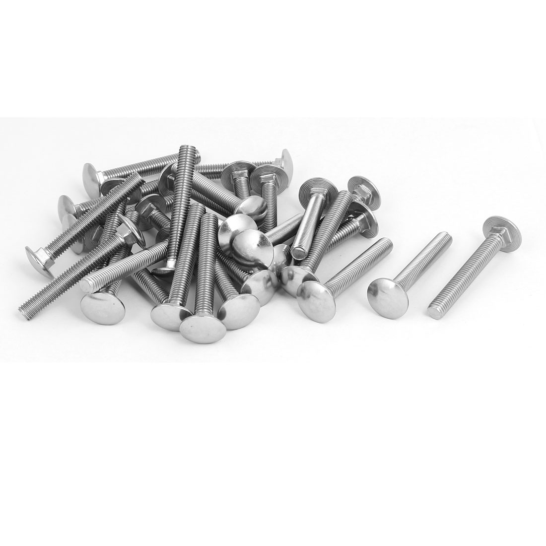 M8x60mm 304 Stainless Steel Round Cap Square Neck Trailer Carriage Bolts 30pcs