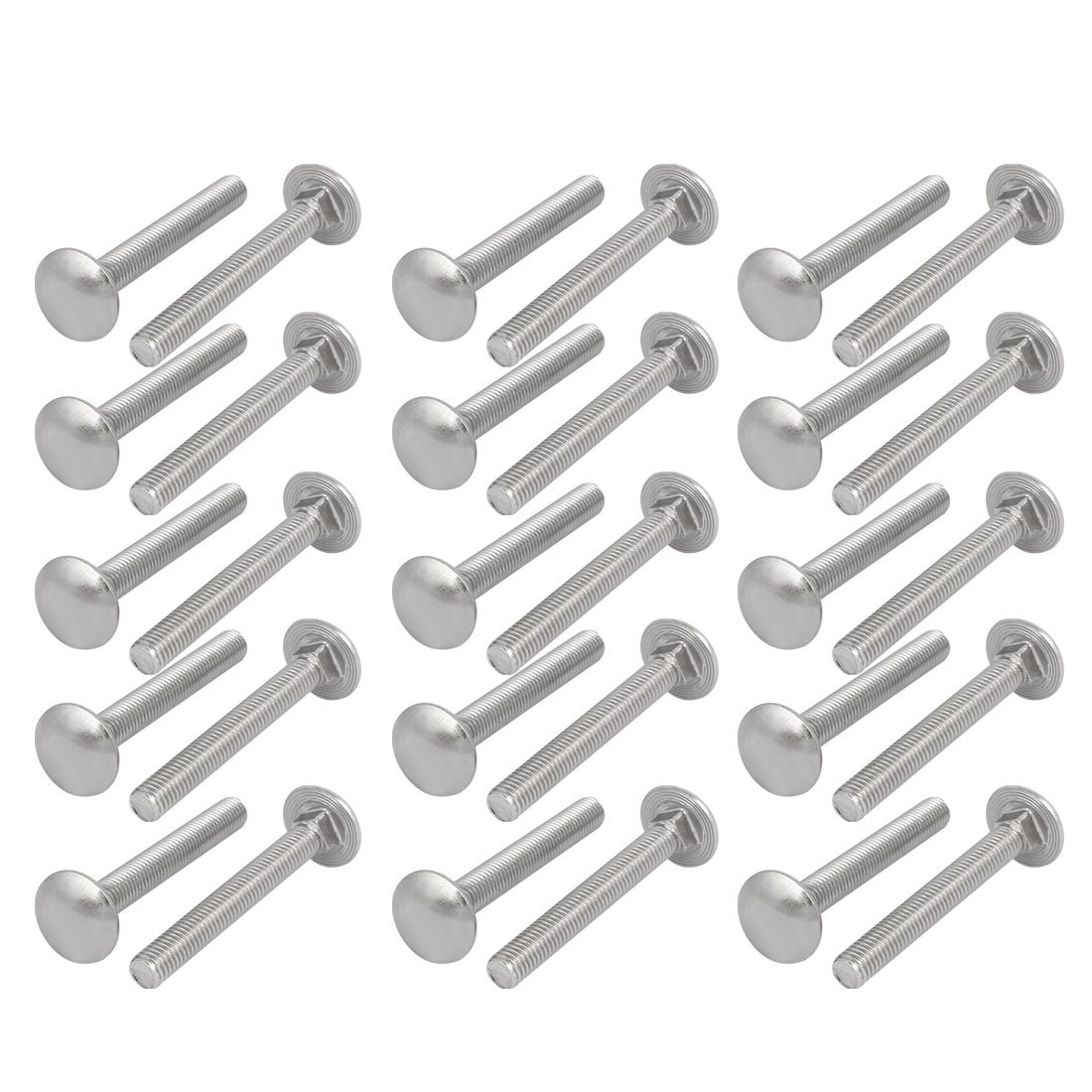 M8x65mm 304 Stainless Steel Round Cap Square Neck Trailer Carriage Bolts 30pcs
