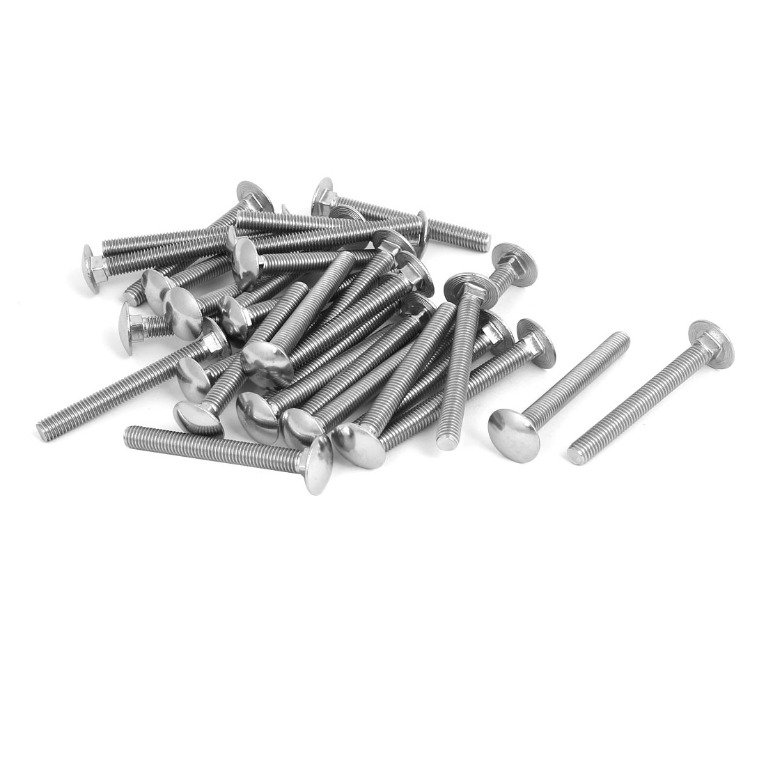 M8 x 70mm 304 Stainless Steel Round Head Carriage Coach Bolts DIN603 30PCS