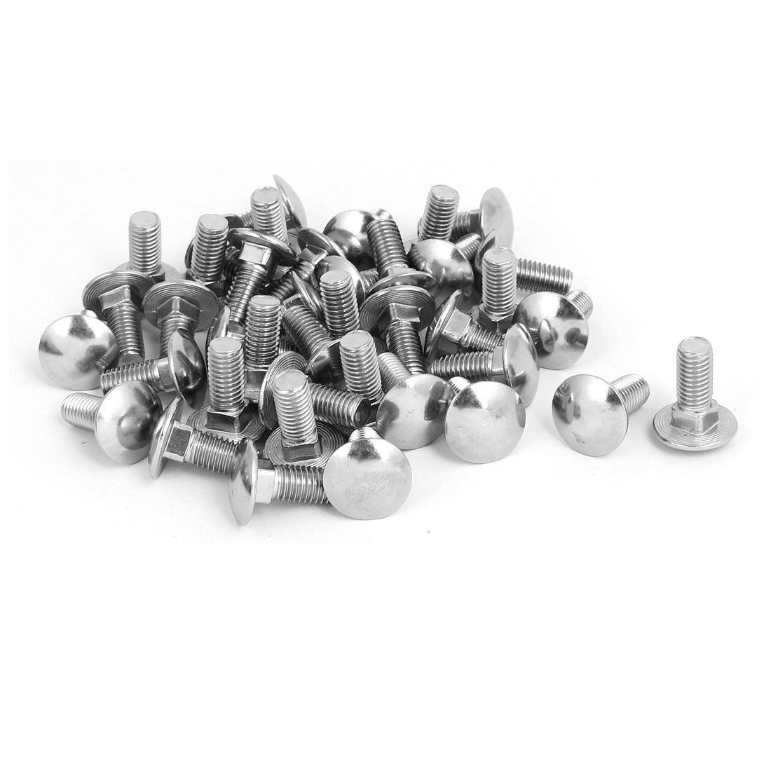M10 x 25mm 304 Stainless Steel Round Cap Square Neck Carriage Bolts DIN603 40PCS