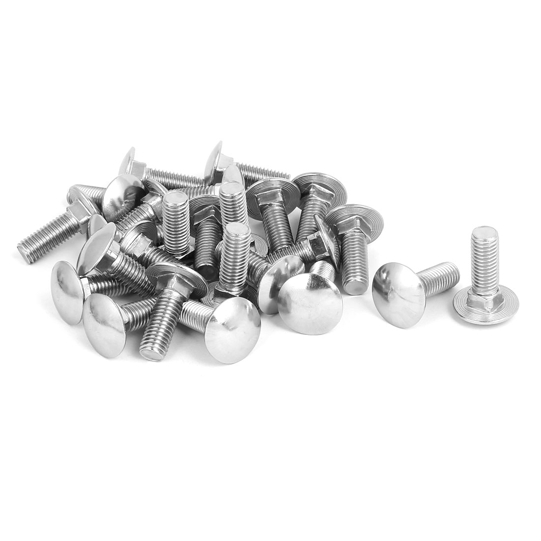M10 x 30mm 304 Stainless Steel Square Neck Carriage Coach Bolts DIN603 25PCS
