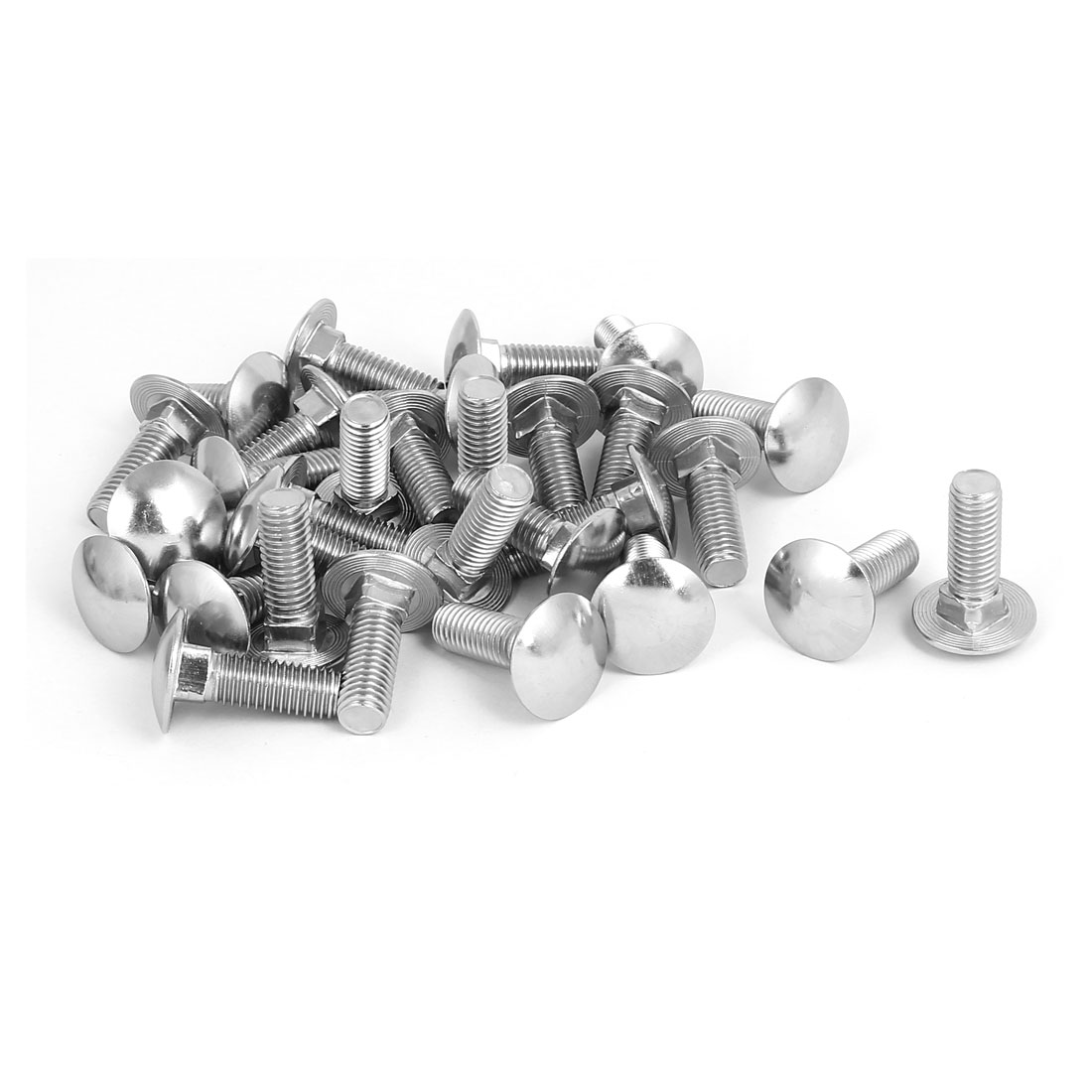 M10 x 30mm 304 Stainless Steel Round Cap Square Neck Carriage Bolts DIN603 30PCS
