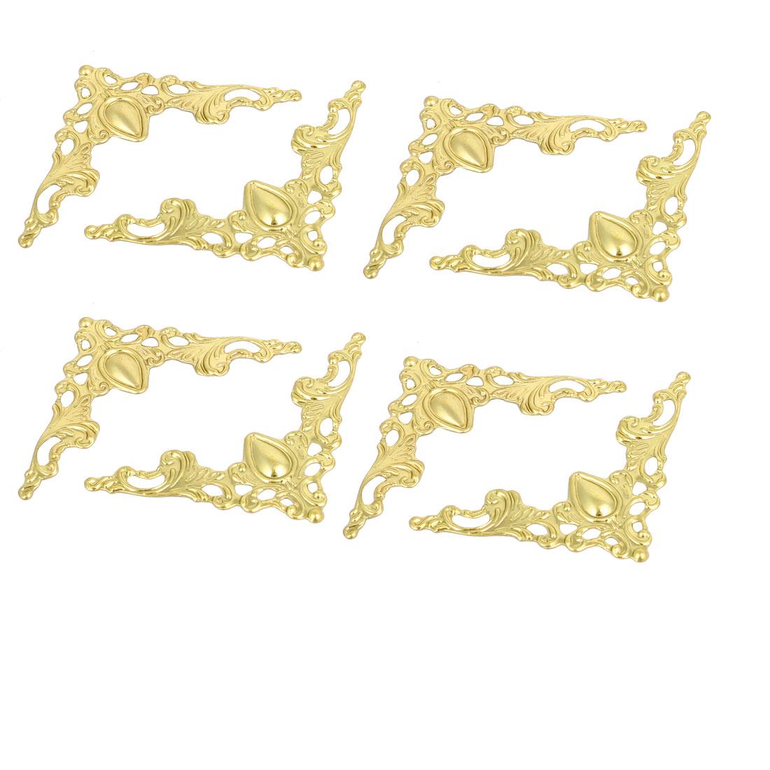 Box Book Scrapbook Album Iron Corner Protectors Guards Gold Tone 41x41x1mm 8pcs