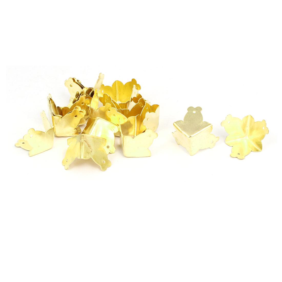 Jewelry Wine Box 3 Holes Fixed Three Sides Corner Protectors Gold Tone 20pcs