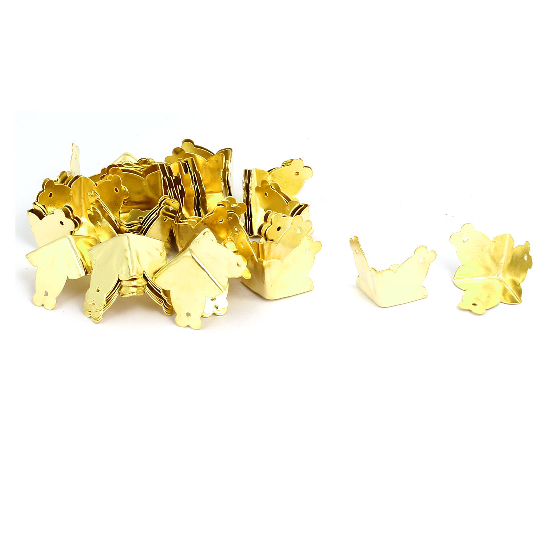 Jewelry Wine Gift Box 3 Holes Fixed Three Sides Corner Protectors Gold Tone 50pcs