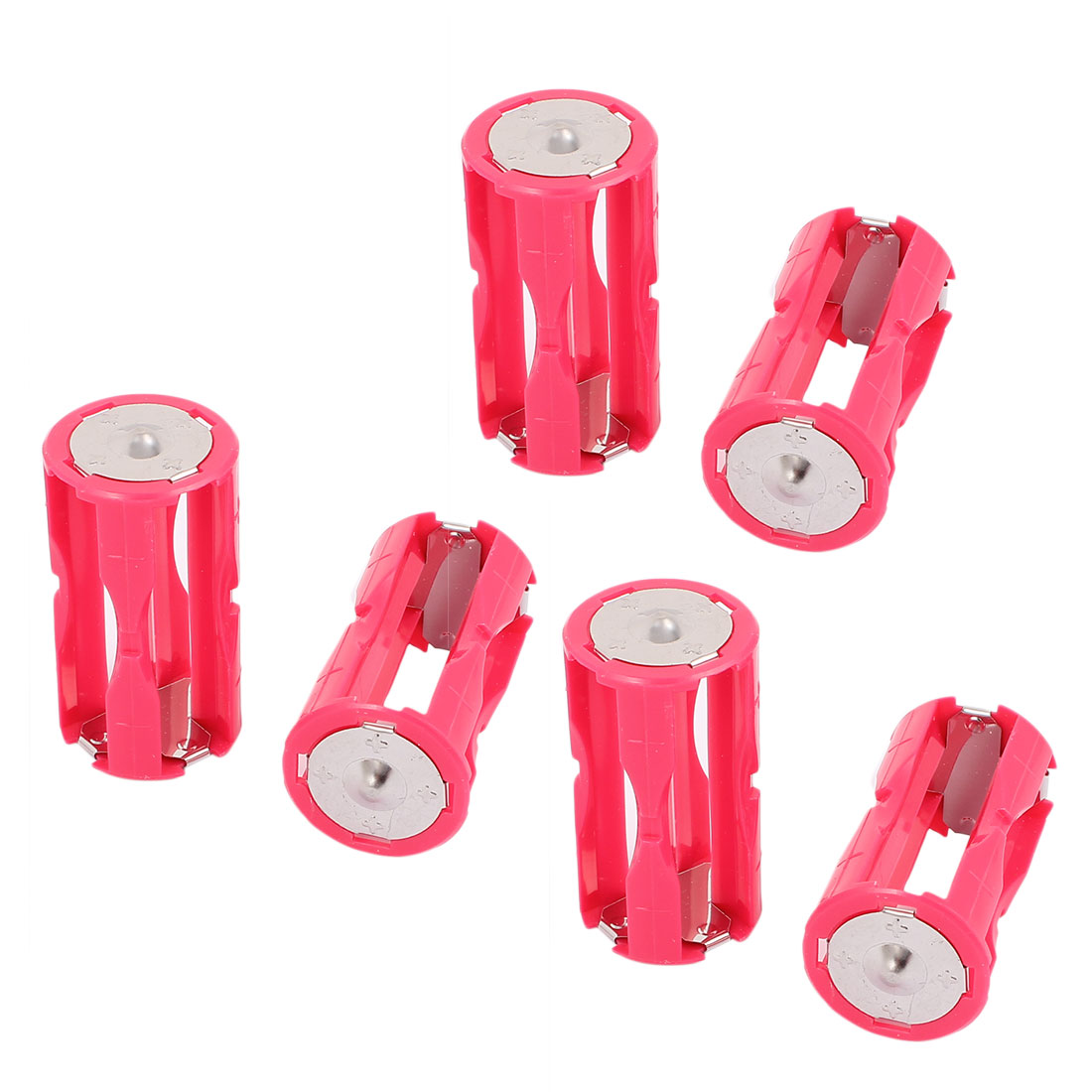 Housing Cylinder Batteries Holder Adapter for 4x1.5VAAA Battery Rose Red 6pcs