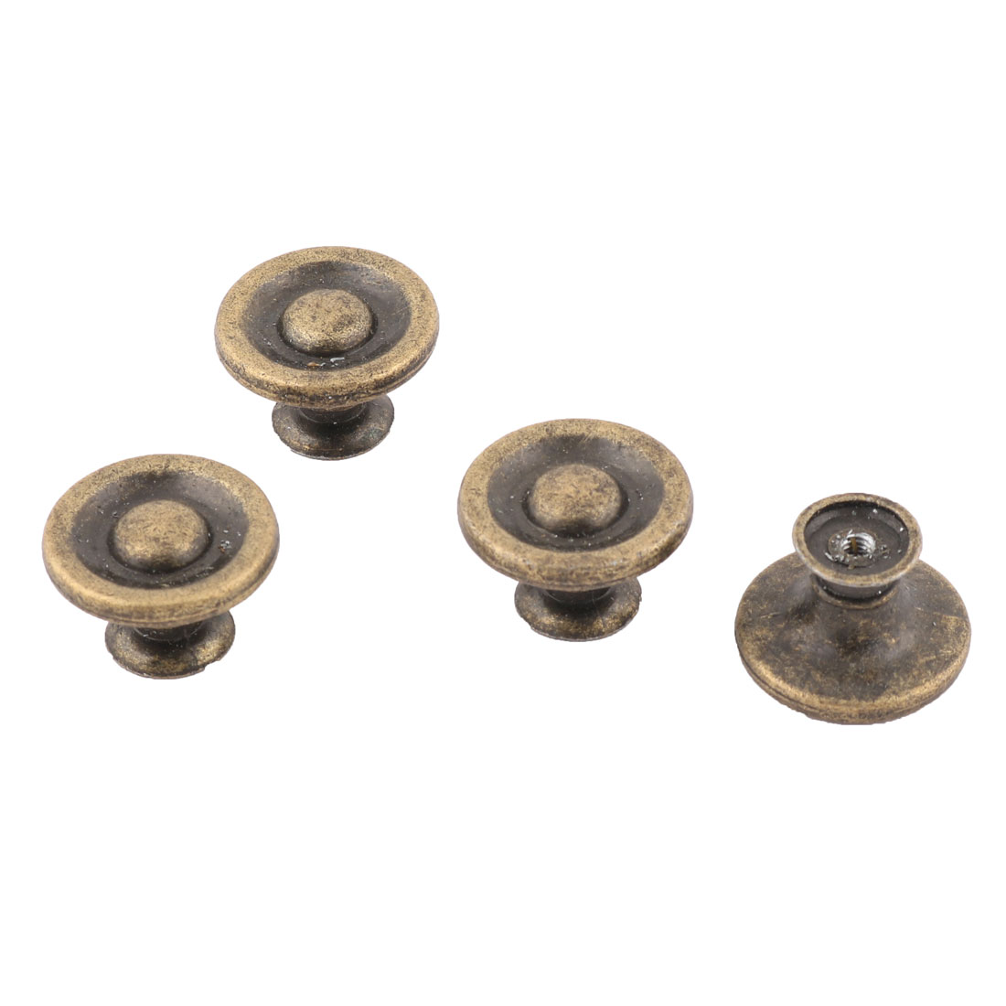 Metal Round Shape Furniture Parts Drawer Cupboard Door Handle Pull Knob Bronze Tone 4 Pcs
