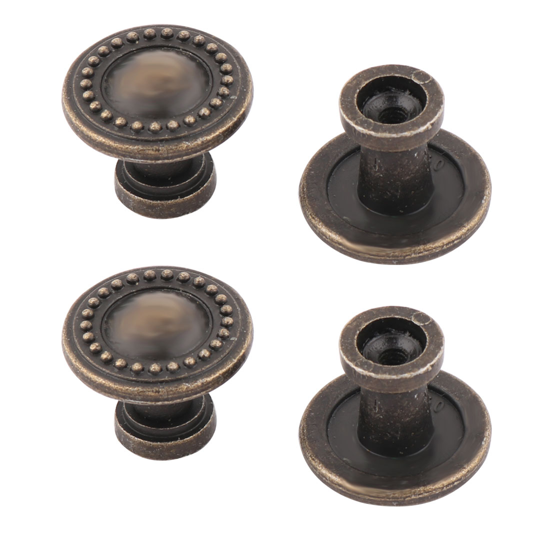 Household Metal Round Shape Retro Style Cabinet Cupboard Door Handle Pull Knob Bronze Tone 4 Pcs