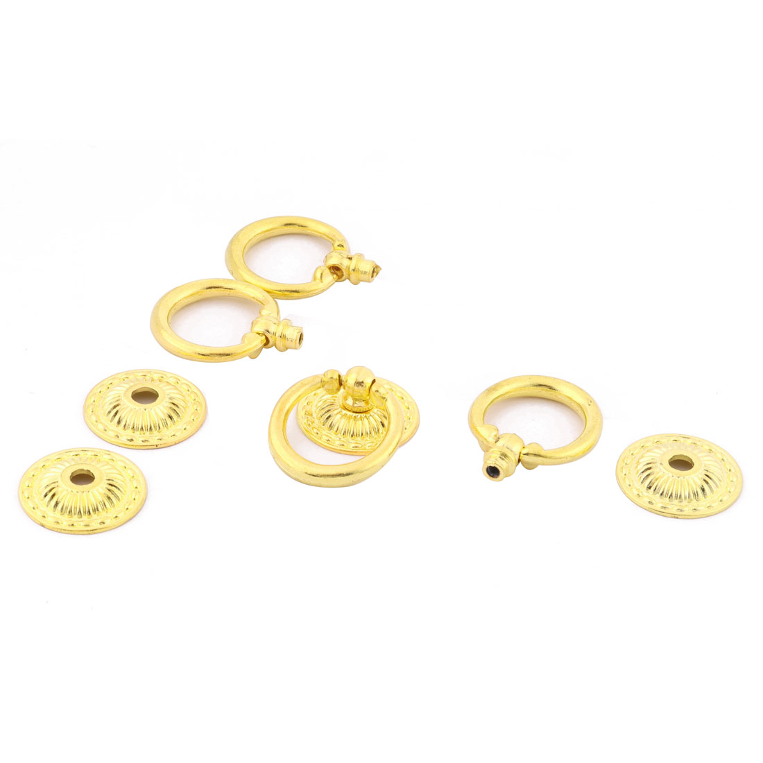 Metal Retro Style Hardware Tool Drawer Cupboard Ring Door Pull Handle Knob Gold Tone 4 Pcs