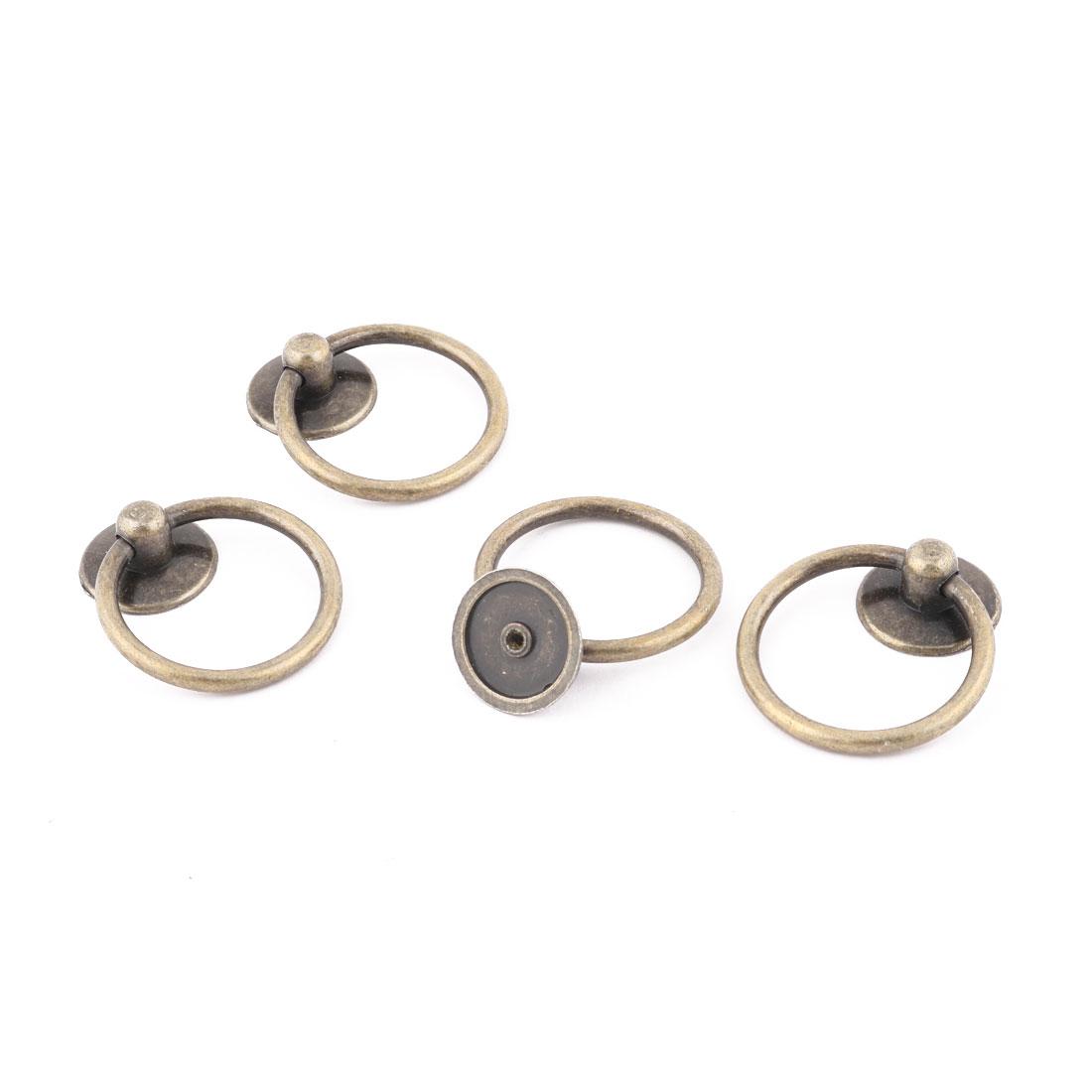 Home Metal Dresser Drawer Cabinet Cupboard Door Ring Pull Handle Bronze Tone 4 Pcs