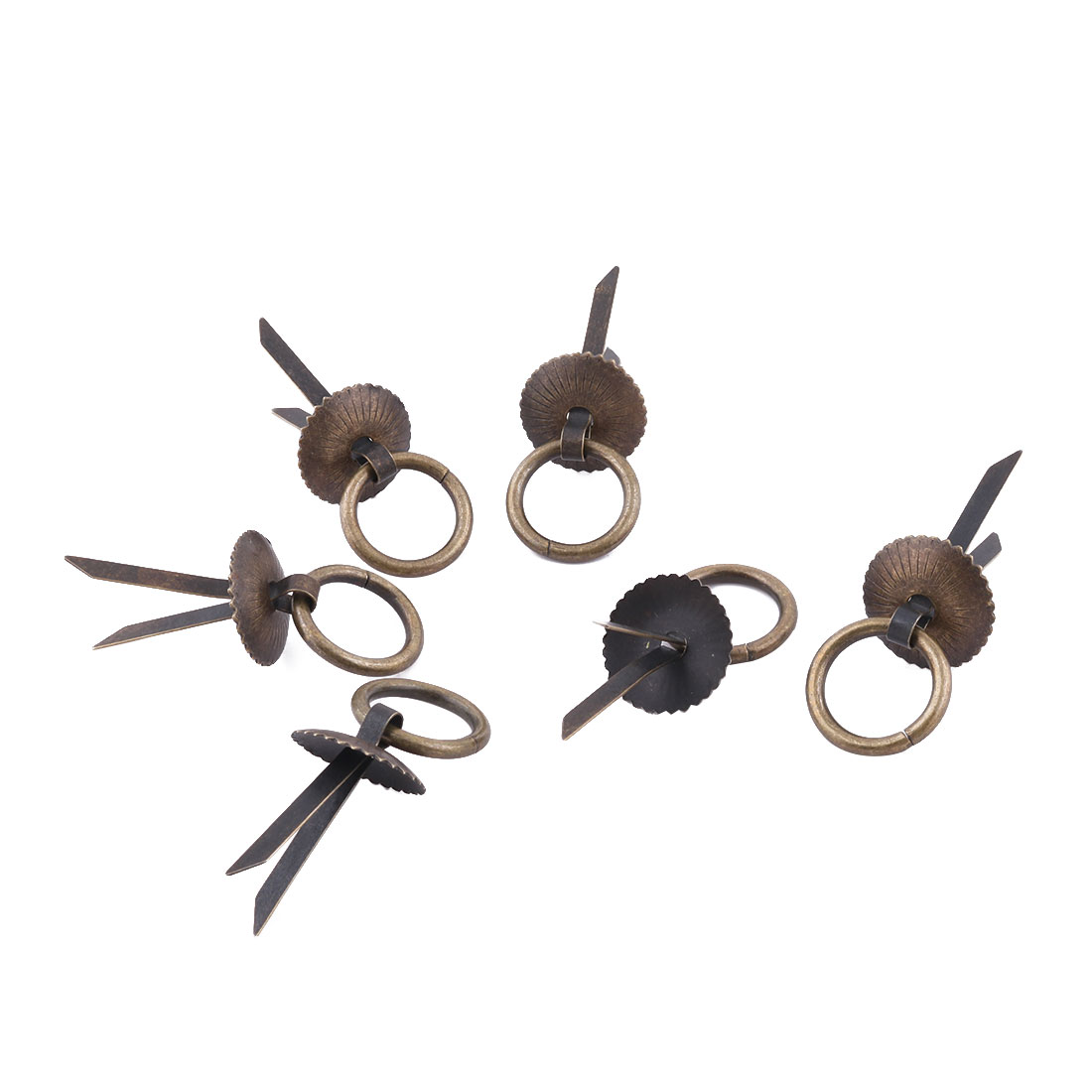 Household Metal Door Wardrobe Closet Cupboard Ring Pull Handle Grip Bronze Tone 6pcs