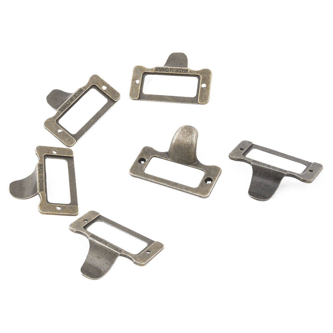 Home Office Metal Frames Shelves Drawer Box Case Tag Label Card Holders Bronze Tone 6 Pcs
