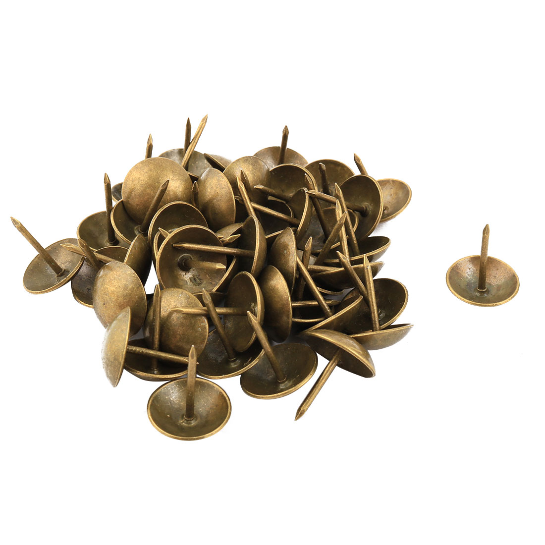 Family Furniture Thumb Tack Nail Calender Pushpin Bronze Tone 16 x 19mm 48pcs
