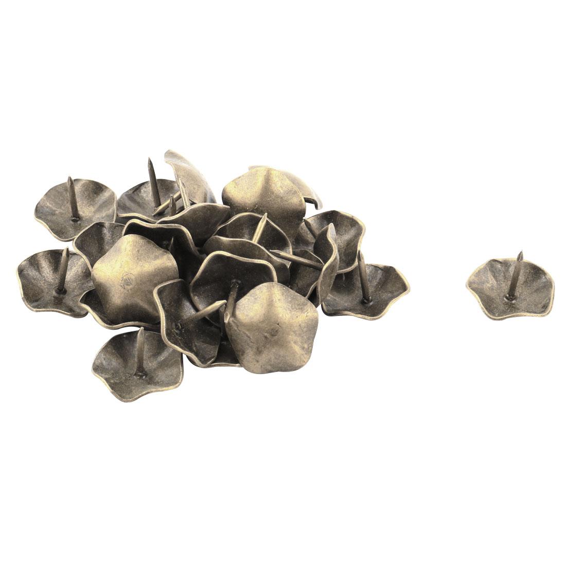 Furniture Accessory Metal Flower Designed Pushpin Tack Nail Bronze Tone 25pcs