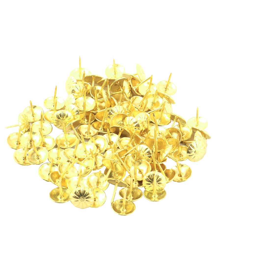 Furniture Flower Pattern Upholstery Thump Tack Nail Decor Gold Tone 11 x 13mm 100pcs