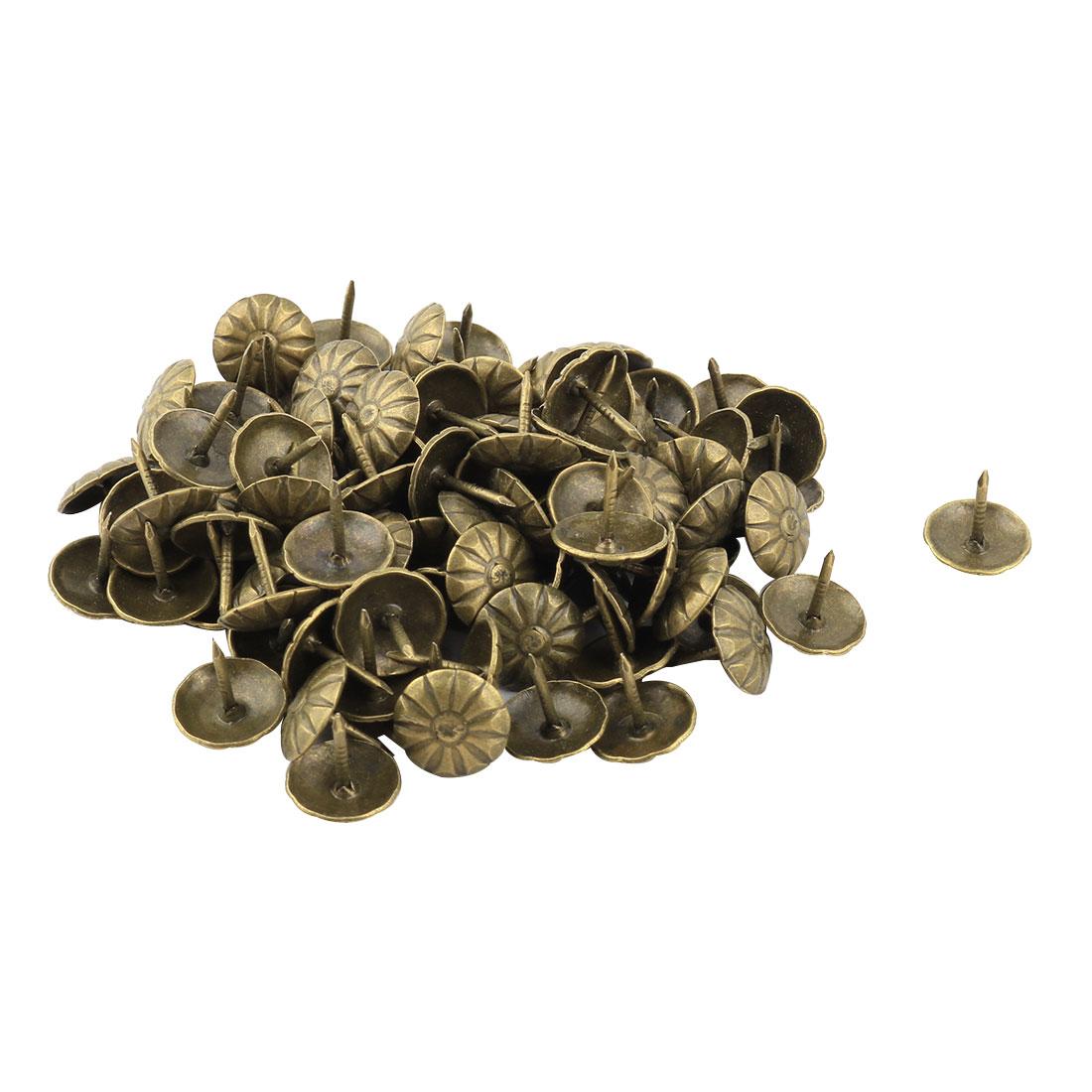 Home Metal Floral Pattern Hat Furniture Tack Nail Bronze Tone 11 x 11mm 100pcs