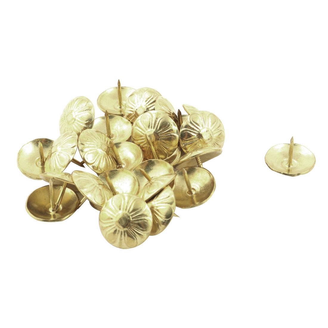 Household Furniture Chrysanthemum Pattern Upholstery Tack Nail Gold Tone 19 x 15mm 25pcs