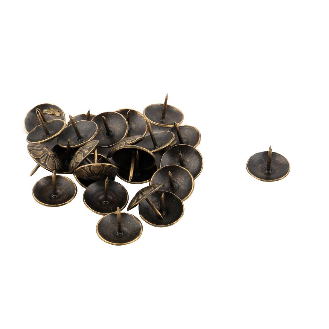 Household Furniture Chrysanthemum Pattern Upholstery Tack Nail Bronze Tone 19 x 15mm 25pcs