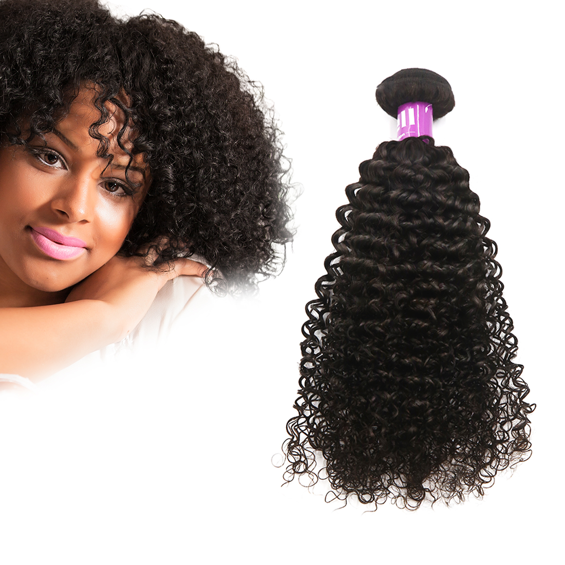 """Peruvian Unprocessed Virgin Jerry Curly Human Hair Extensions Wave 24"""" 1 Bundle"""
