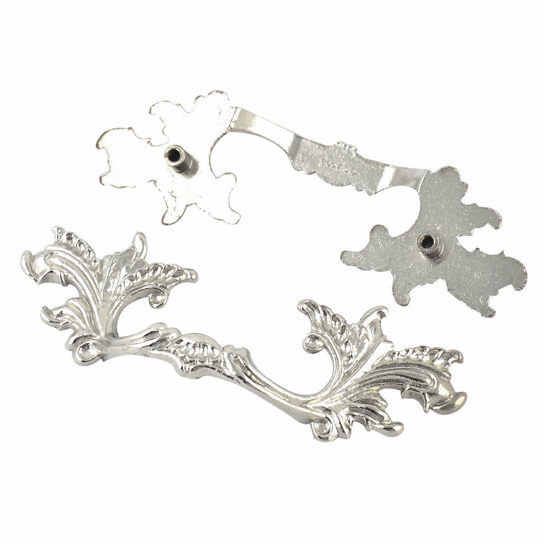 Cabinet Drawer Box Zinc Alloy Leaf Shaped Puller Pull Handle Silver Tone 2pcs