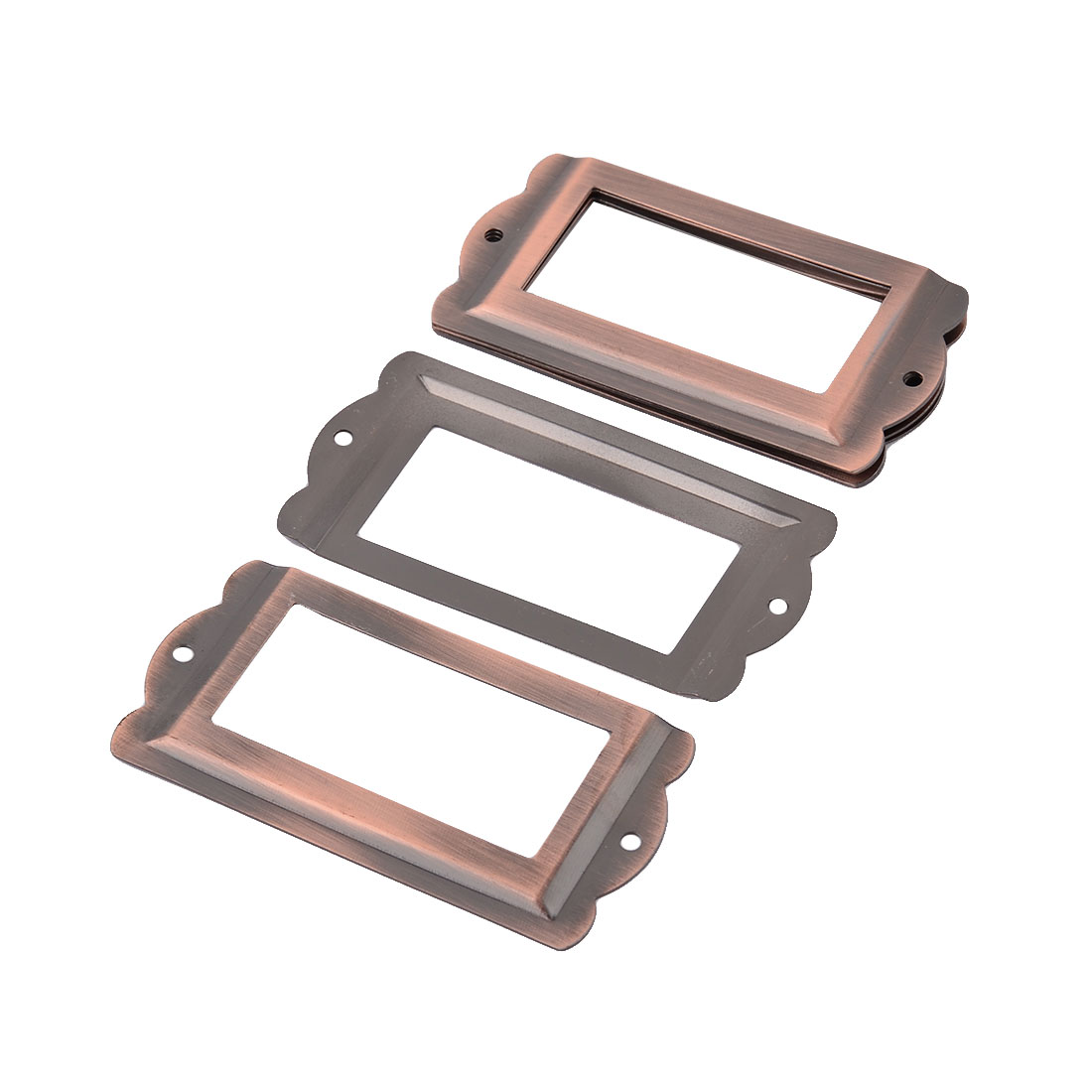Office Library Drawer Iron Tag Label Holder Frame Copper Tone 85mm x 42mm 6 PCS