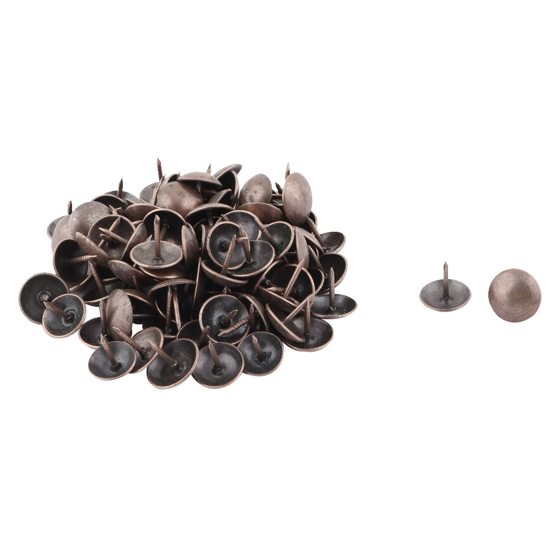 Home Furniture Metal Round Head Upholstery Thumb Tack Nail Pushpin Copper Tone 11 x 11mm 98pcs