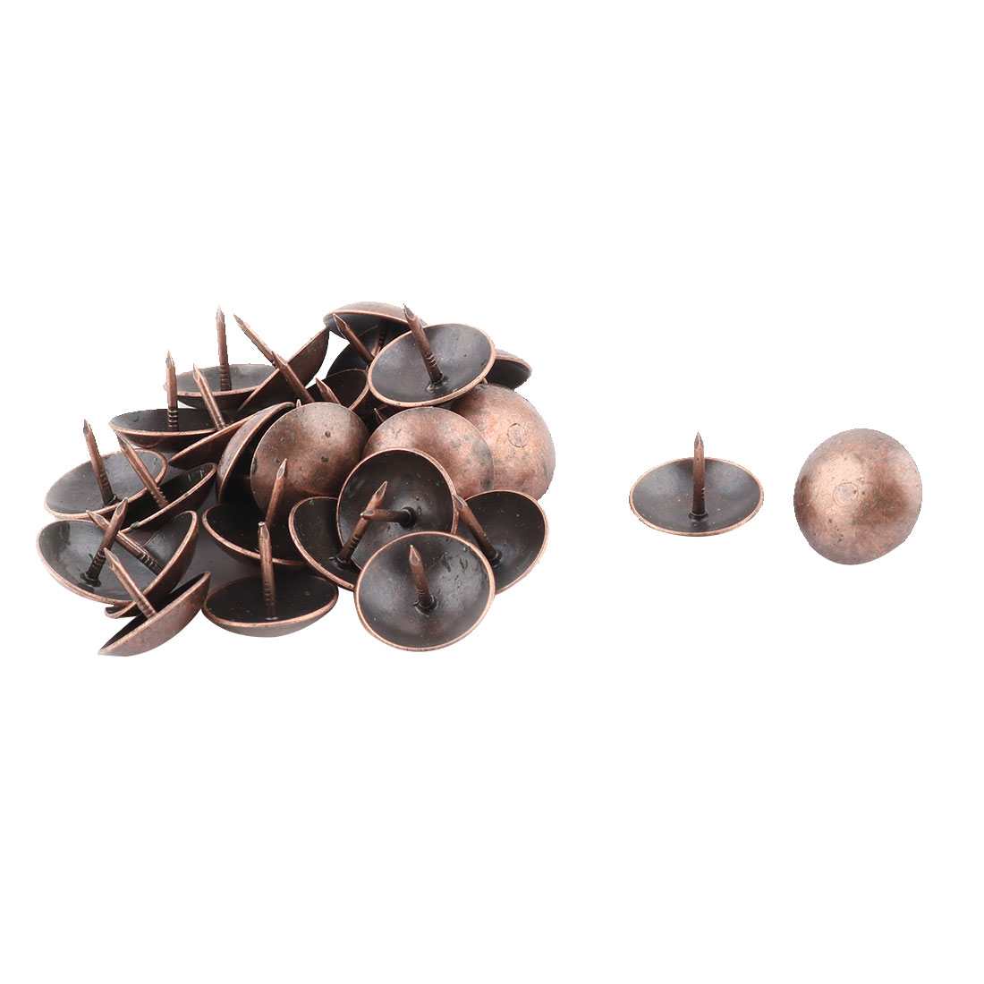 Home Furniture Metal Round Top Upholstery Thumb Tack Nail Pushpin Copper Tone 19 x 15mm 30pcs