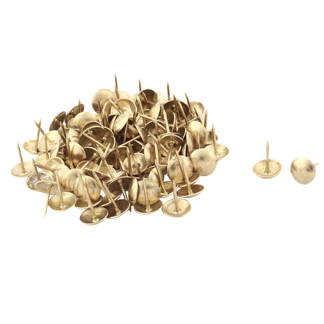 Home Furniture Chair Metal Round Cap Upholstery Thumb Tack Nail Pushpin Gold Tone 94pcs