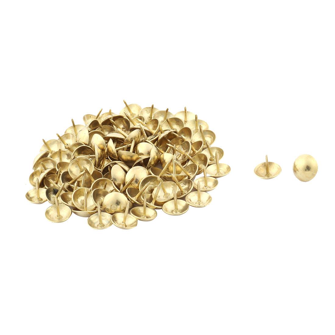 Furniture Desk Case Metal Round Cap Tack Nail Pushpin Gold Tone 11 x 11mm 98pcs