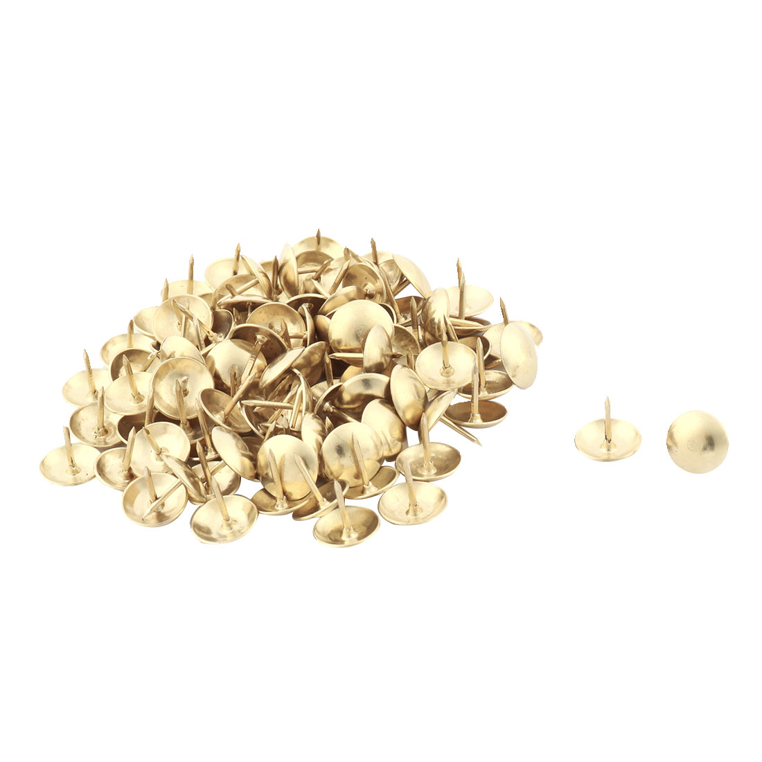 Furniture Chair Metal Round Cap Upholstery Ornament Thumb Tack Nail Gold Tone 11 x 11mm 100pcs