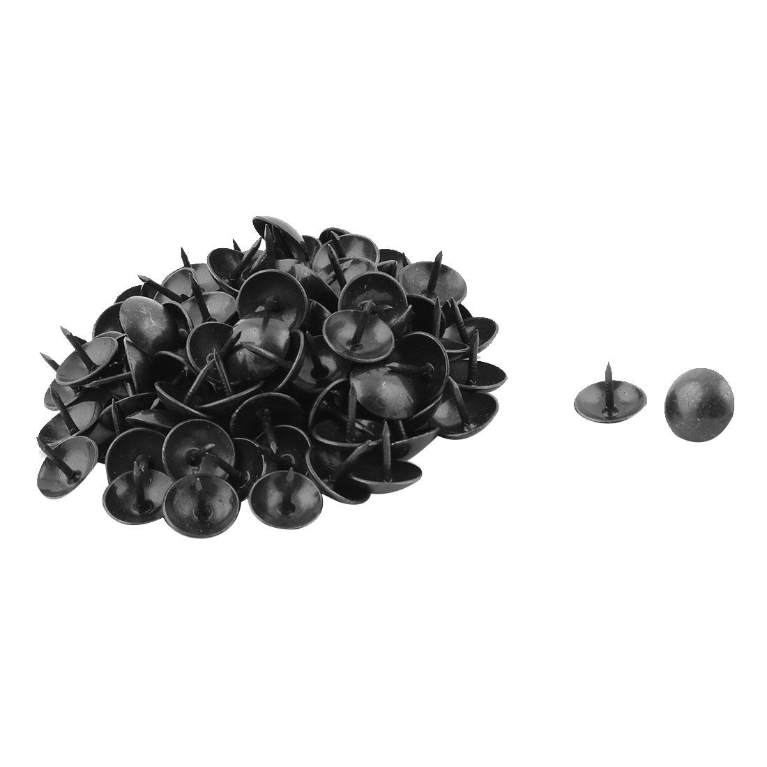 Furniture Box Case Metal Round Cap Upholstery Thumb Tack Nail Pushpin Black 14 x 12mm 100pcs