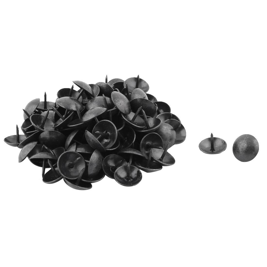 Furniture Case Metal Round Cap Upholstery Thumb Tack Nail Pushpin Black 16 x 12mm 100pcs