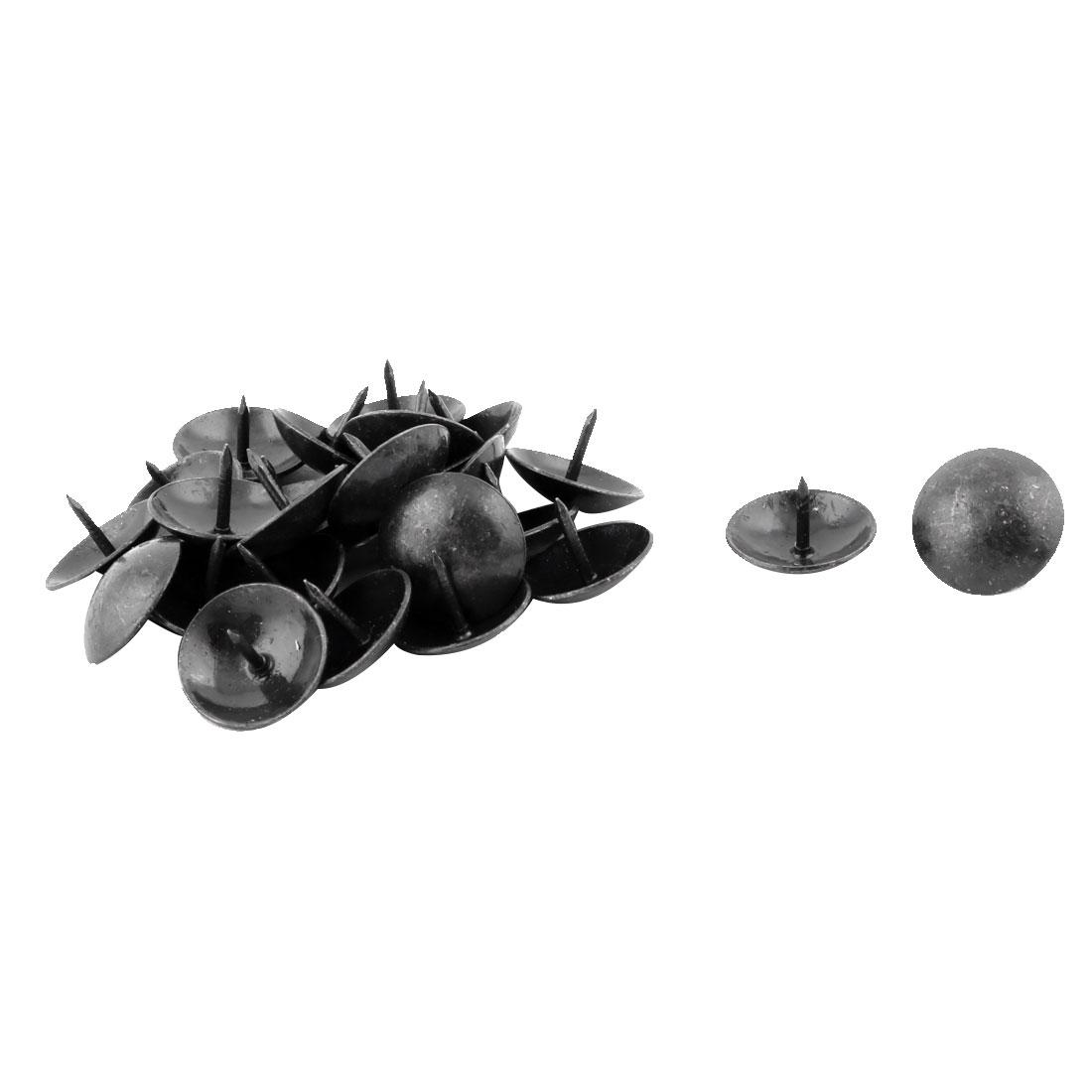 Home Table Metal Round Cap Upholstery Decor Thumb Tack Nail Pushpin Black 19 x 13mm 25pcs
