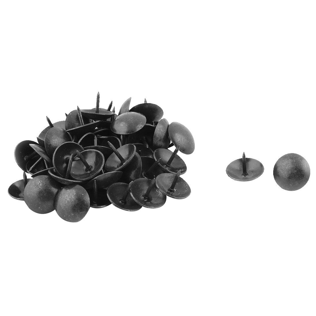 Home Furniture Metal Round Cap Upholstery Thumb Tack Nail Pushpin Black 16 x 13mm 50pcs