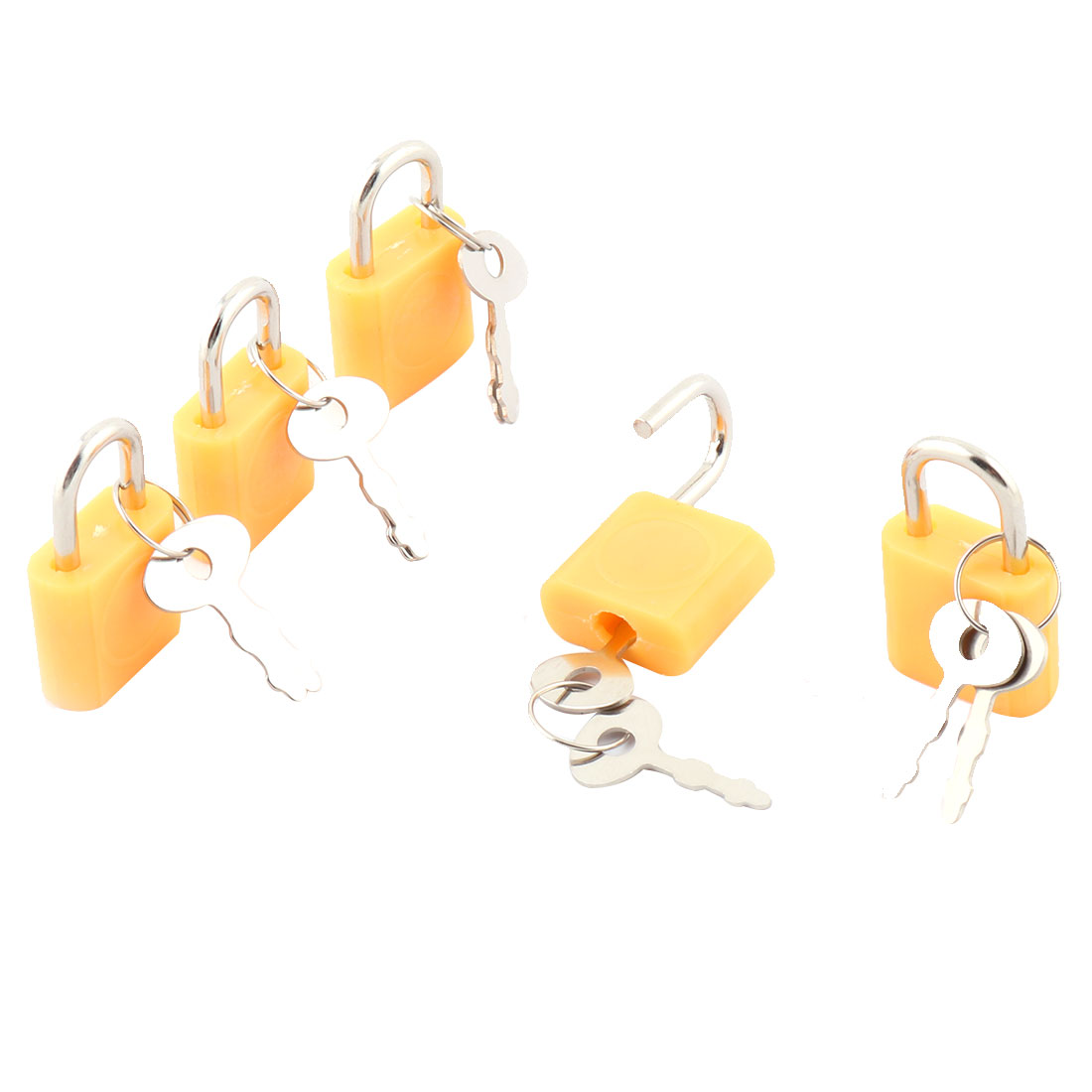 Household Cabinet Suitcase Metal Shackle Security Protector Padlock Lock Orange 5pcs