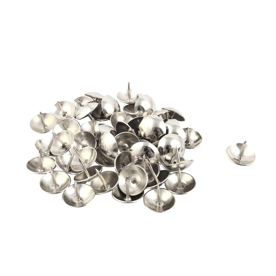 Furniture Metal Tack Nail Multifunction Pushpin Silver Tone 16 x 14mm 50pcs