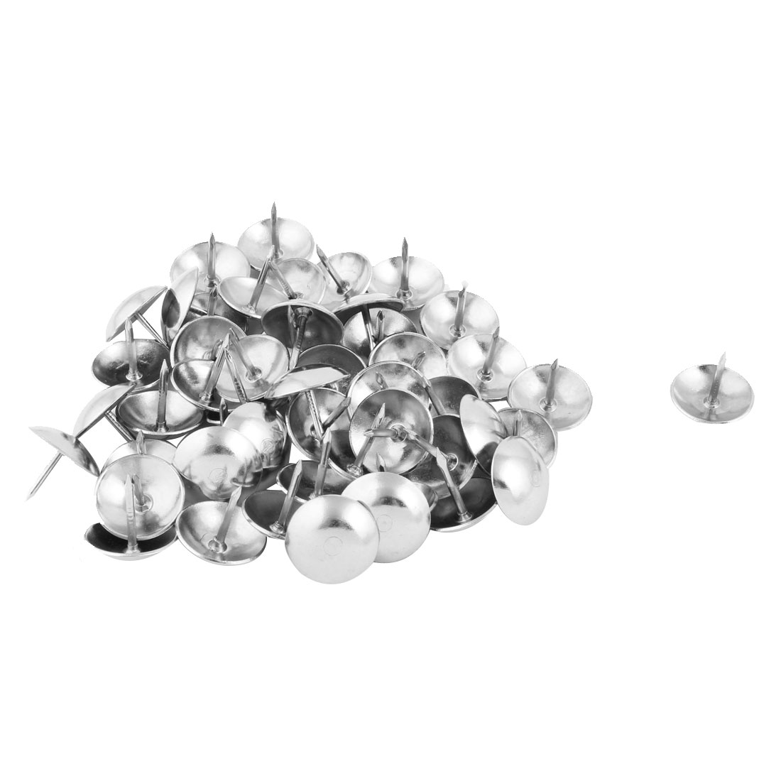 Home Furniture Accessory Metal Pushpin Tack Nail Silver Tone 16 x 15mm 50pcs
