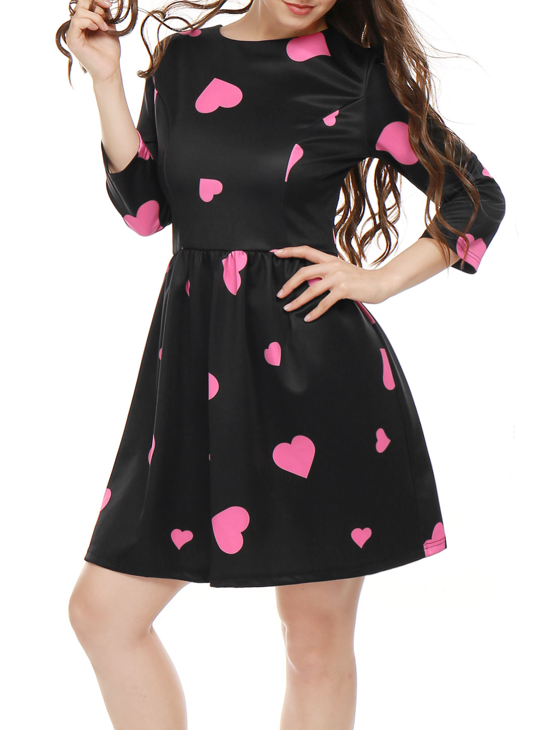 Women Crew Neck 3/4 Sleeves Heart Prints Flare Dress Black S