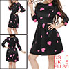 Women Crew Neck 3/4 Sleeves Heart Prints Flare Dress Black S