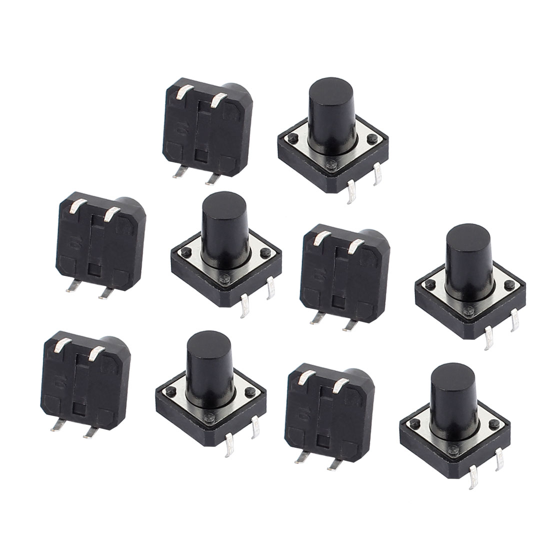 10Pcs 12mmx12mmx12mm Panel PCB Momentary Contact Tactile Tact Switch 4 Terminals