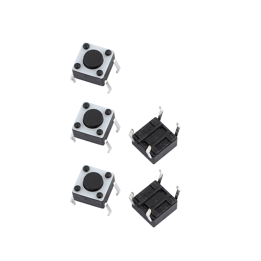 5Pcs 6mmx6mmx4.3mm Panel PCB Momentary Contact Round Black Push Button Switch 4 Terminals