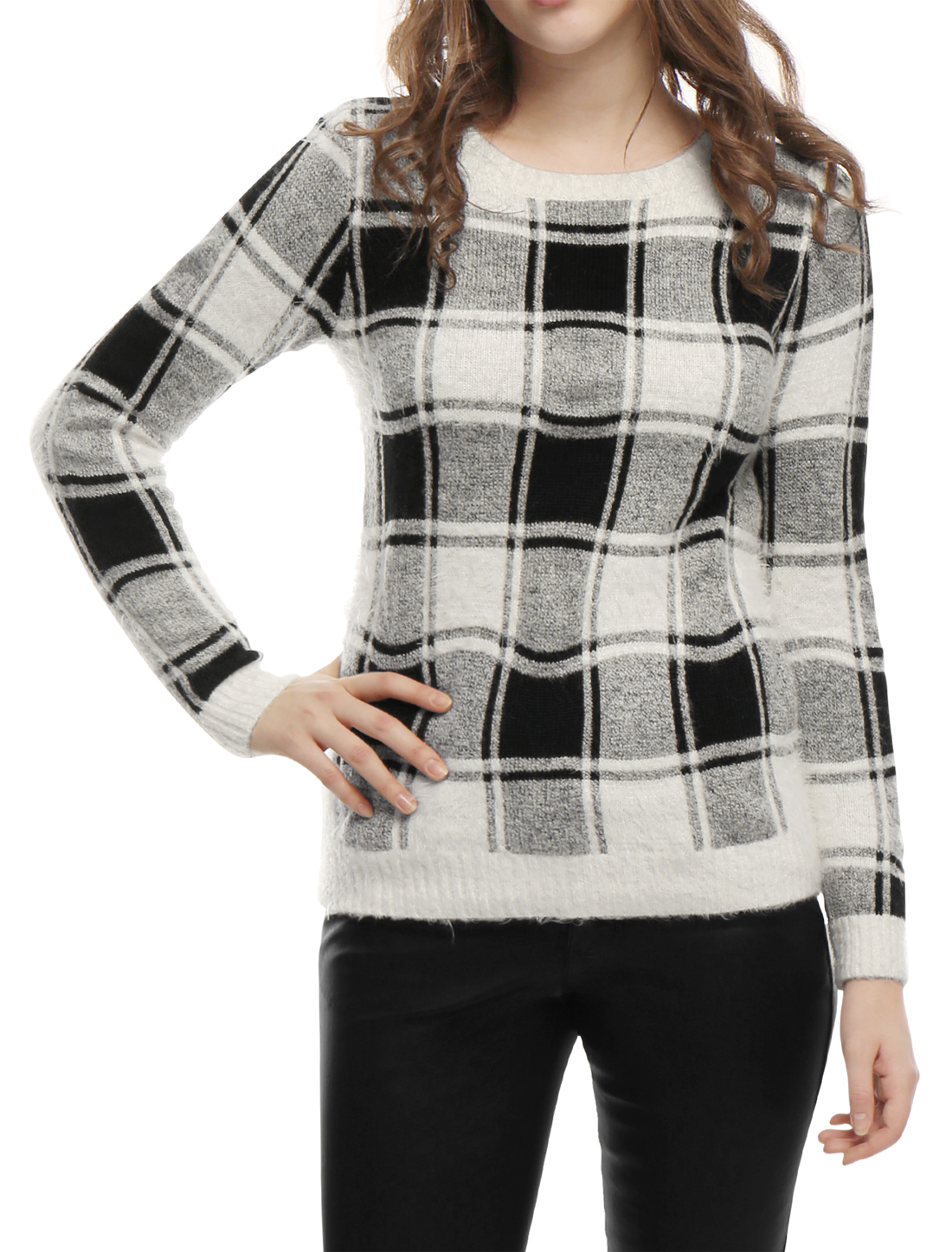 Women Plaids Round Neck Long Sleeves Fuzzy Sweater Black M
