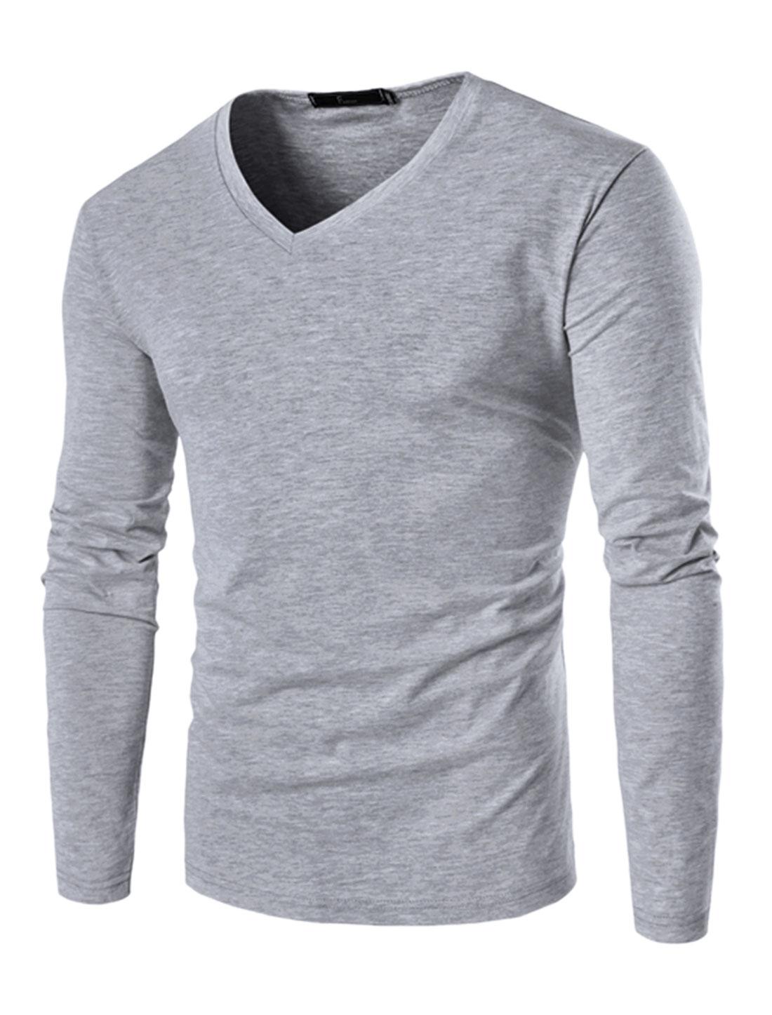 Men V Neck Long Sleeves Slim Fit Tee Shirt Gray M