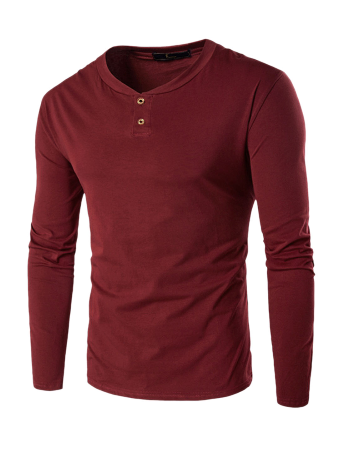 Men Stand Collar Long Sleeves Slim Fit Henley Shirt Red L