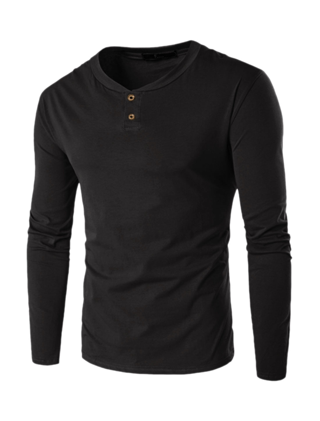 Men Stand Collar Long Sleeves Slim Fit Henley Shirt Black L