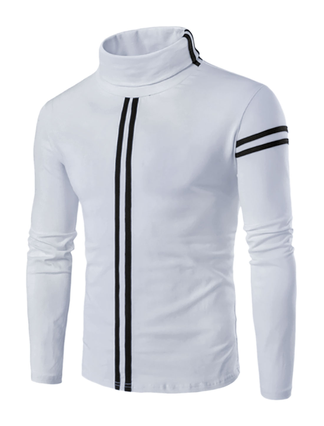 Men Turtle Neck Long Sleeves Stripes Slim Fit T-shirt White L