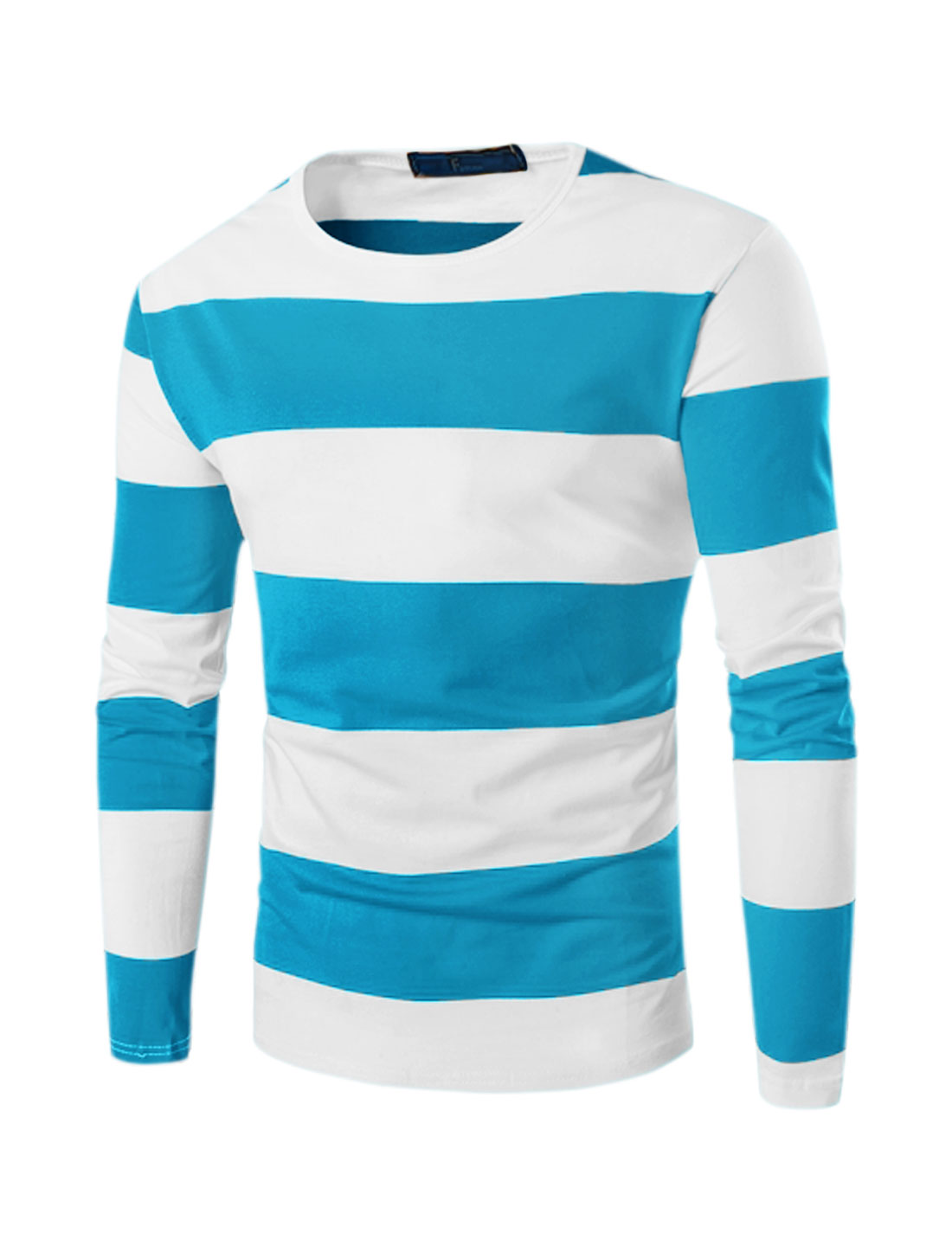 Men Stripes Round Neck Long Sleeve Contrast Color Slim Fit Tee Blue L