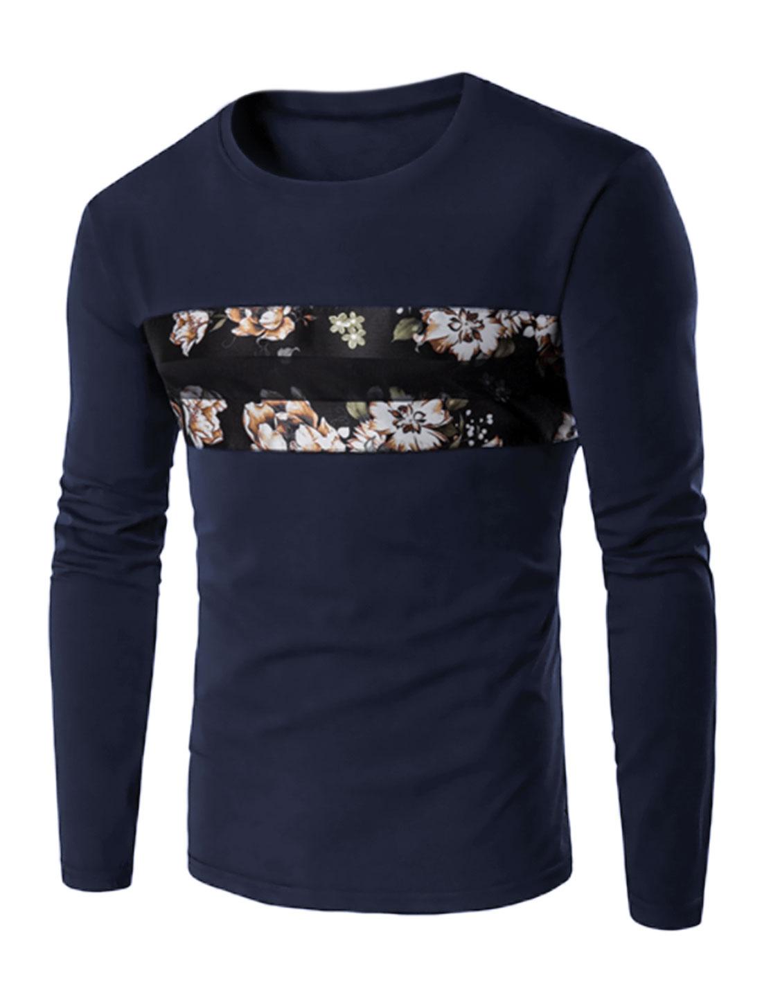 Men Floral Long Sleeve Mesh Panel Contrast Color Slim Fit Tee Blue M